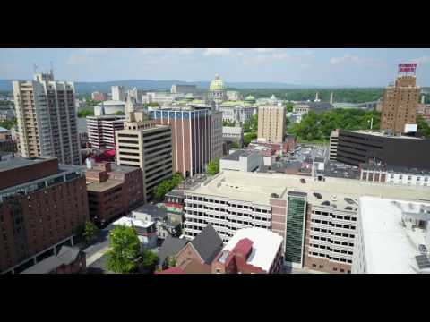 Descending over Downtown Harrisburg Pennsylvania and Capital Building 009