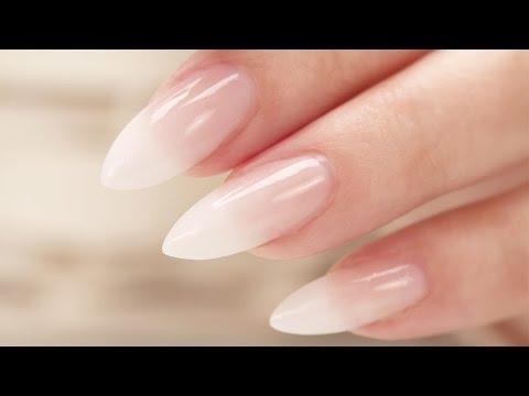 Смотреть видео French Fade Baby Boomer Almond Acrylic Nails Three Color онлайн скачать на мобильный