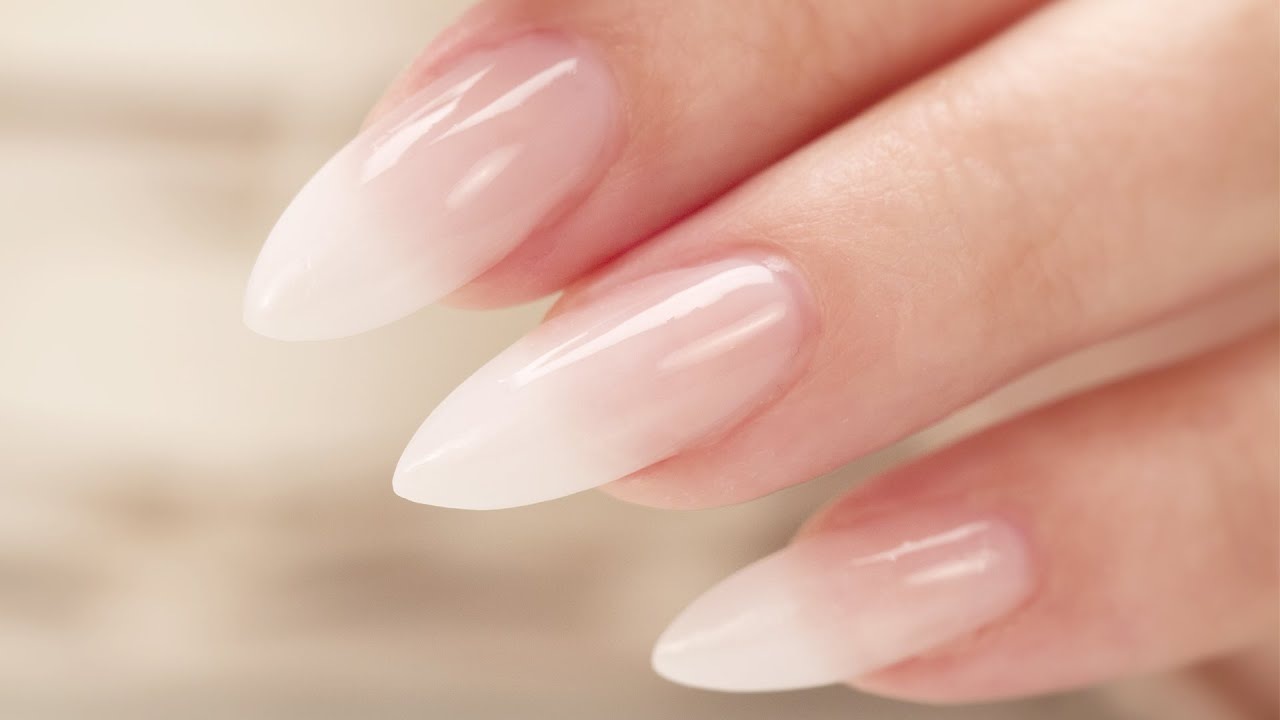 French Fade Baby Boomer Almond Acrylic Nails Three Color Fade