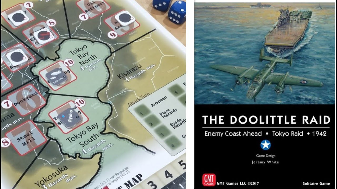 Enemy Coast Ahead: The Doolittle Raid [Example of Play - Scenario 1 on battle of wake island, battle of attu map, battle of iwo jima, bombing of tokyo in world war ii, solomon islands campaign, battle of peleliu, battle of manila map, midway map, battle of angaur map, battle of okinawa, battle of coral sea map, iwo jima map, allied invasion of sicily map, battle of stalingrad map, battle of midway, guadalcanal map, first battle of el alamein map, doolittle b-25 wreckage, doolittle mission, battle of the java sea map, battle of saipan, attack on pearl harbor, battle of tarawa, naval battle of guadalcanal, ted w. lawson, battle of leyte gulf, d-day map, pacific war, battle of the coral sea, battle for henderson field map, guadalcanal campaign, allied invasion of italy map, thirty seconds over tokyo, tokyo map, battle of the philippine sea, battle of leyte gulf map, siege of sevastopol map, doolittle raiders, atomic bombings of hiroshima and nagasaki,
