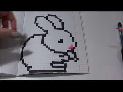 рисунки по клеточкам№40: зайчик с морковкой ;)