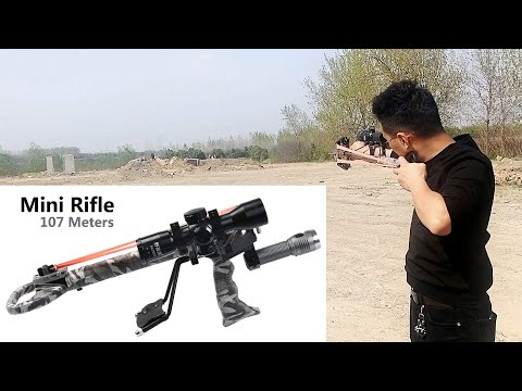 Slingshot Mini Rifle - At A Distance Of 118 Yards ( 107M ) Is Possible To Break The Beer Bottle ?