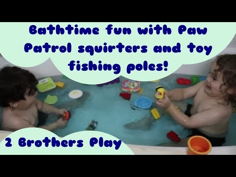Paw Patrol And Munchkin Fishing Poles Bath Playtime Youtube