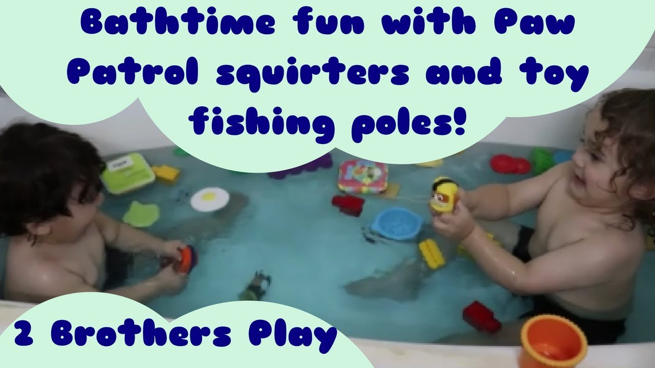 Paw Patrol And Munchkin Fishing Poles Bath Playtime
