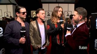 Repeat youtube video Thirty Seconds to Mars on Jared Leto's Movie Awards - GRAMMY Red Carpet