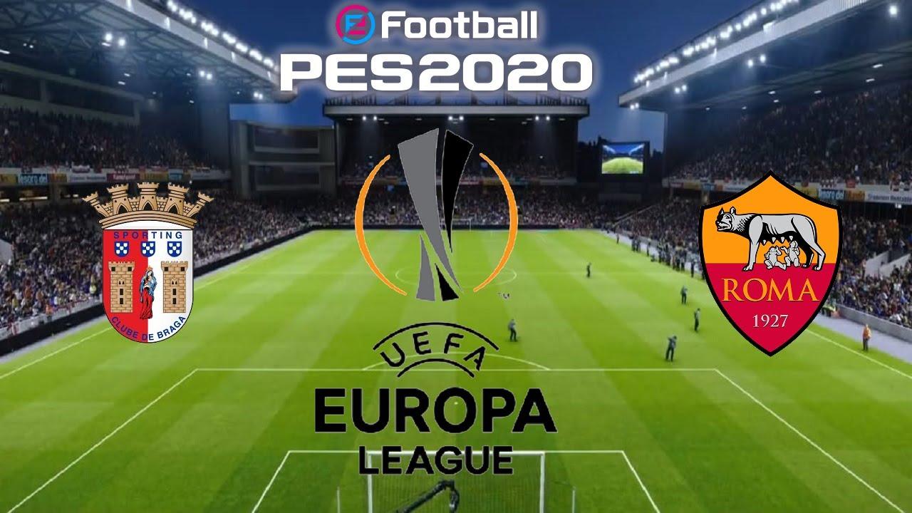 BRAGA X ROMA - LIGA EUROPA - SEGUNDA FASE 18/02/21 [PES 2020] - YouTube