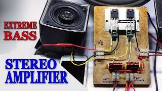 #amplifier #stereoamp #powerfulbass in this video i am showing, how to make an audio stereo amplifier using two d718 transistors. its a very simple low effic...