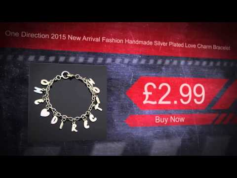 One Direction 2015 New Arrival Fashion Handmade Silver Plated Love Charm Bracelet