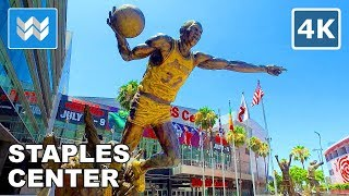 Walking around Staples Center in Downtown Los Angeles, California 【4K】