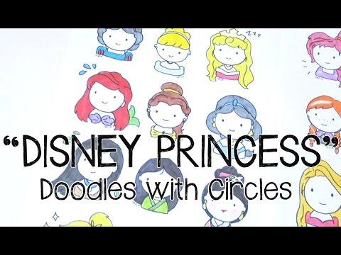 Draw Cute Kawaii Disney Princess Doodles   Doodles with Circles