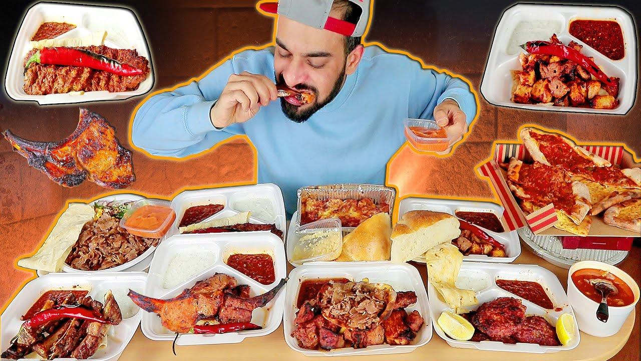 تحدي اكل منيو كامل من مطعم تركي + موكبانغ مشاوي Turkish Food Takeout Challenge & Mukbang Eating Show