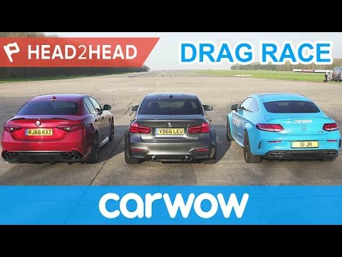 BMW M3 v Mercedes-AMG C63 S v Alfa Romeo Giulia QV - DRAG RACE, BRAKE & DRIFT OFF  | Head2Head