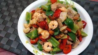 Hong Kong Recipe : Stir-fried Seafood and Pork with Cashew