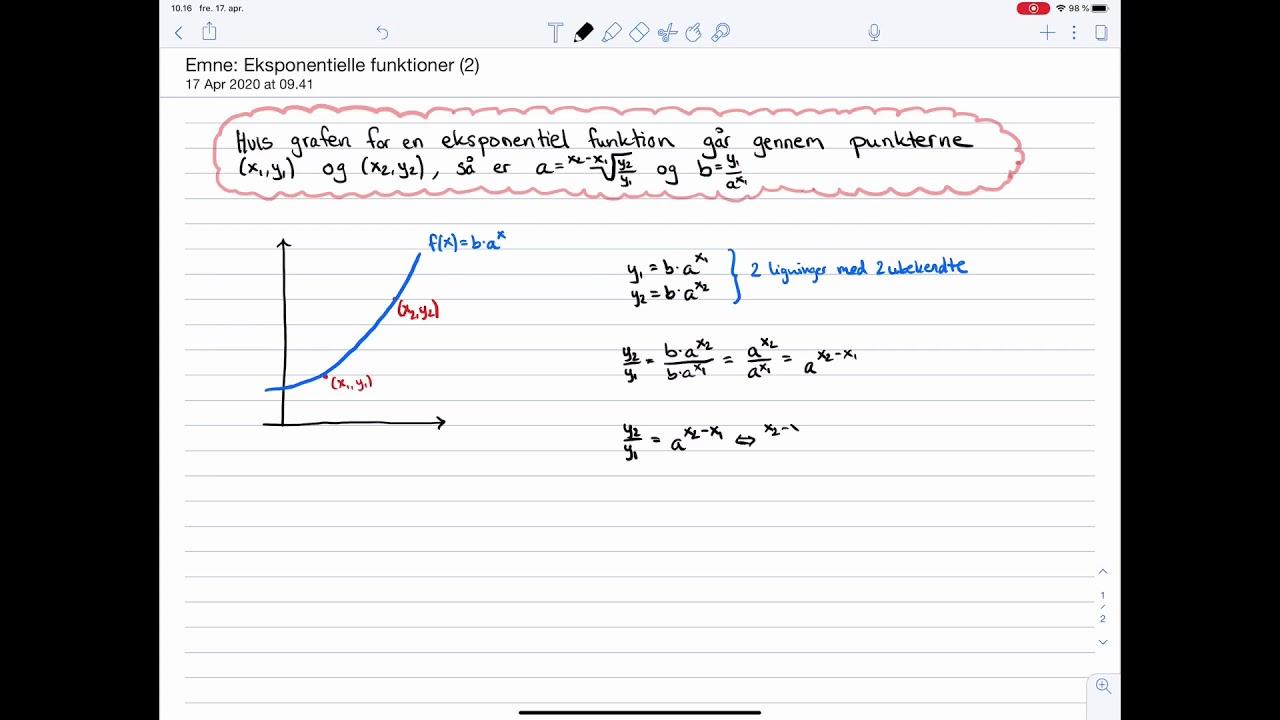 Matematik C og B-niveau Eksamen: Eksponentielle funktioner: To-punkts-formlerne