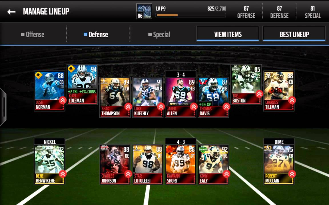 Madden mobile all Carolina panthers team update - YouTube b24a029fb
