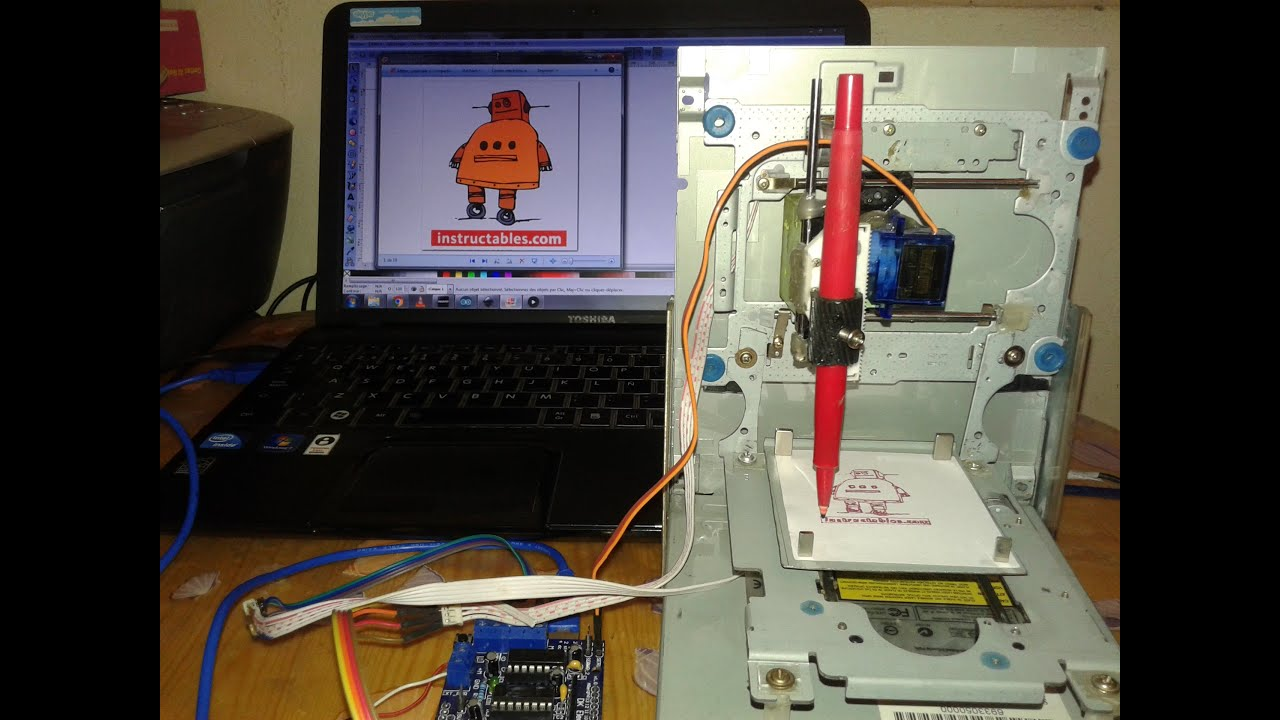 Drawing instructables robot by mini cnc arduino l d