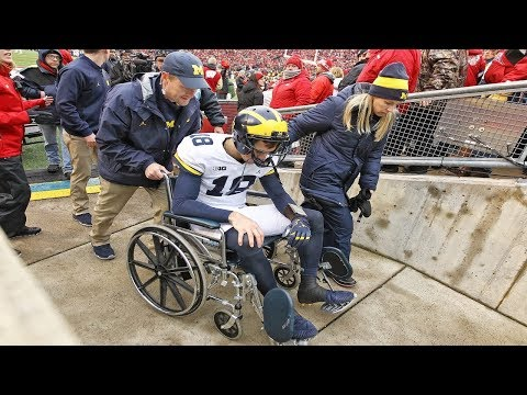 Michigan quarterback: Brandon Peters leaves the game after a hard hit on the head.