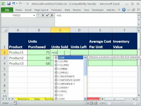 Mr Excel  Excelisfun Trick43 End Inventory Value From