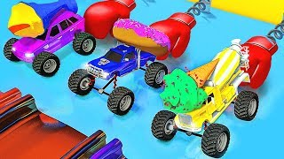 LEARN COLORS AND FOOD WITH CAR TOYS! LEGO CITY AND CARS LEARNING COLORS!