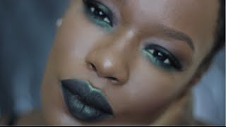 Slime B***h  Fall Makeup| Black & Green SMOKY eyes BLACK & green metallic lips