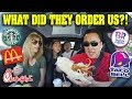 LETTING THE PERSON IN FRONT OF ME DECIDE WHAT I EAT FOR 24 HOURS!!!  5 Drive Thru Challenge!