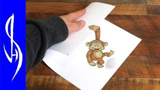 How to Draw a Monkey Dangling Off Edge of Paper - Trick Art