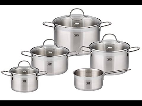 elo top collection stainless steel 9 piece cookware set with energy saving encapsulated bottom integ