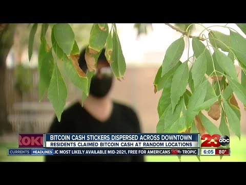 Bitcoin cash stickers spread randomly across Downtown Bakersfield  l