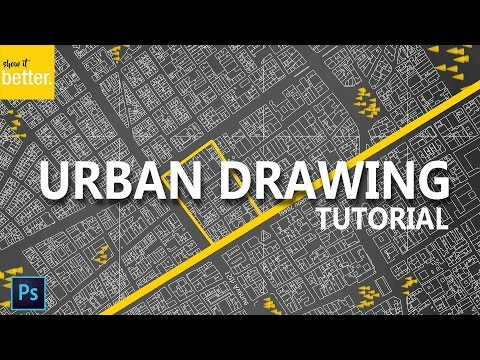 Urban Site Plan Tutorial - Dark Background -  Photoshop Drawing