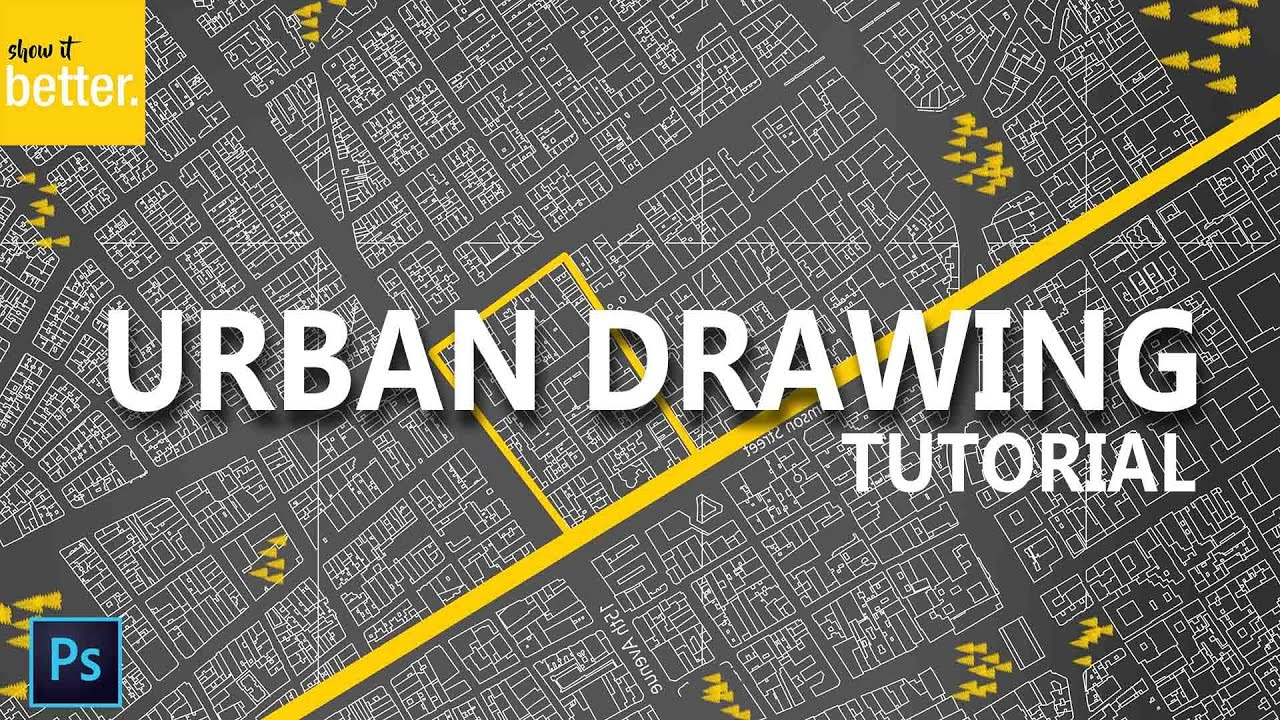 Urban site plan tutorial dark background photoshop drawing youtube Urban design vs urban planning