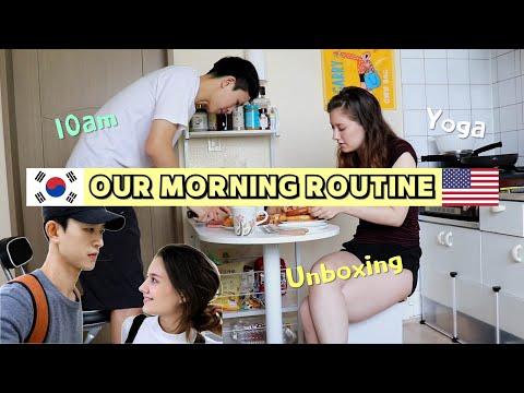 한미 국제커플의 흔한 주말 아침 일상 / OUR MORNING ROUTINE [AMWF] (International Couple) (요가, 스타벅스, 브런치)
