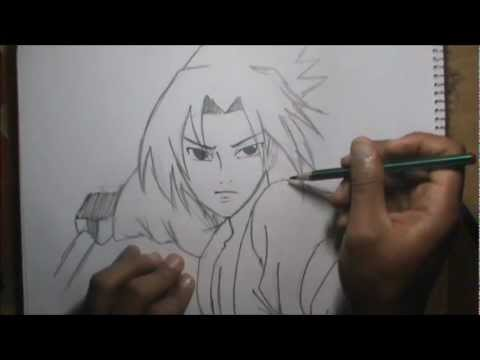 Como dibujar a SASUKE a lapiz en vivo (Personaje de Naruto) - YouTube