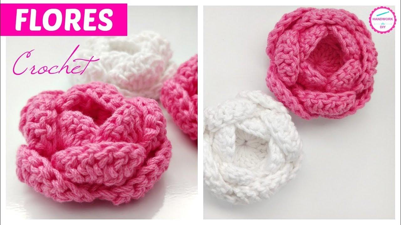 Teje Flores A Crochet Faciles Paso A Paso Youtube