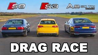 Audi S8 v Audi S3 v Audi A8 - DRAG RACE, ROLLING RACE & BRAKE TEST