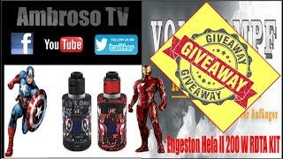 Engeston Hela II 200 W RDTA Kit Giveaway Iron man Captain America deutsch