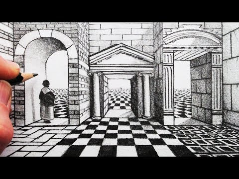 How to Draw a Grid and Arches in 1-Point Perspective