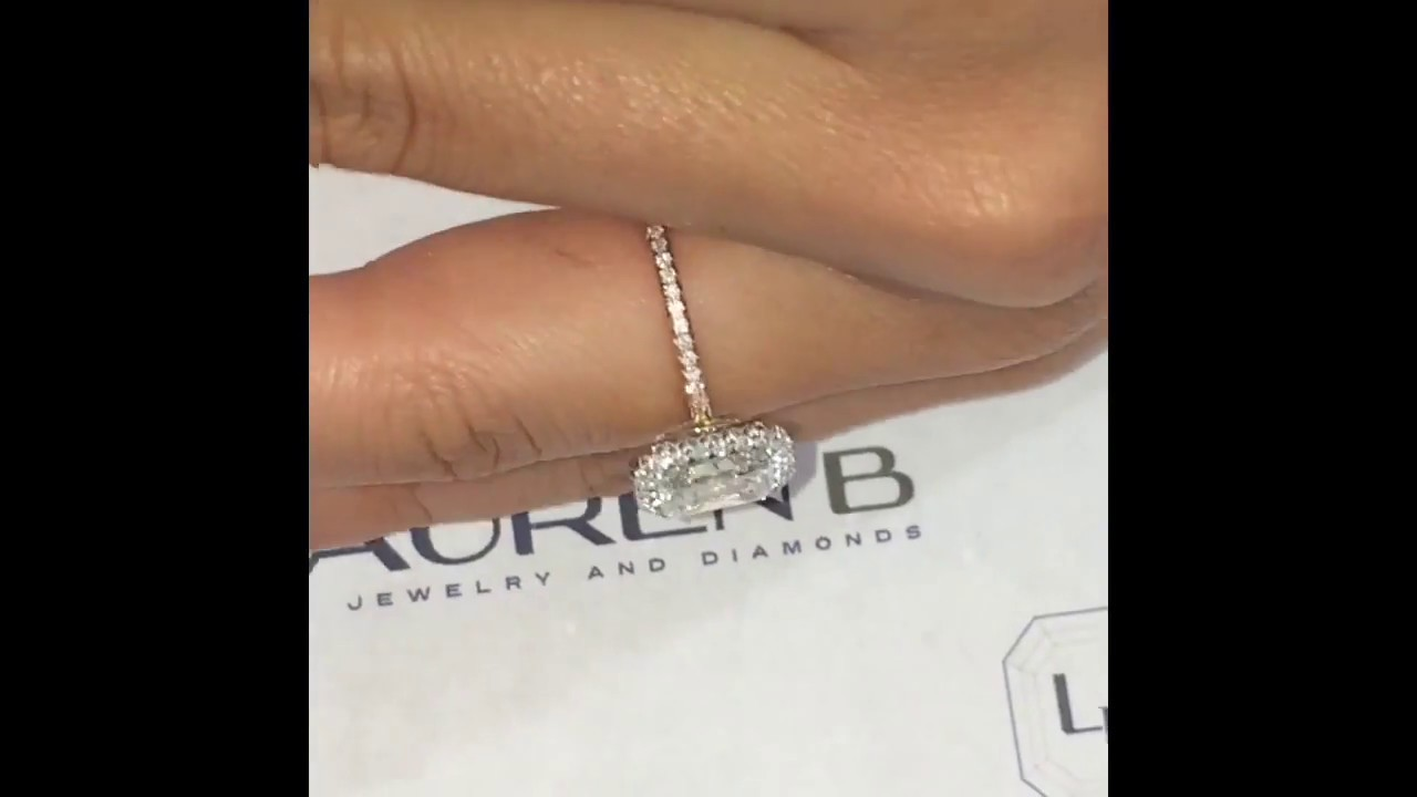 2 Carat Radiant Cut Diamond Halo Engagement Ring YouTube