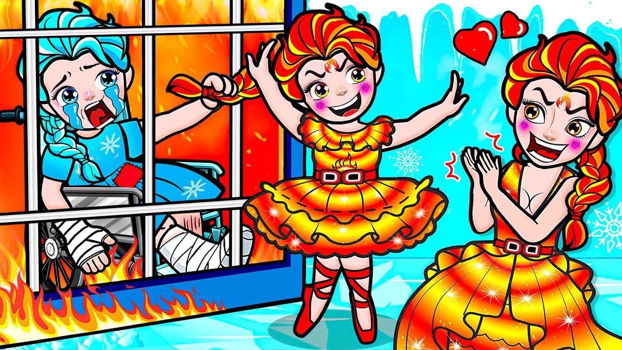 Paper Dolls Dress Up - Poor Elsa Frozen vs Fire Family Sinister Dress - Barbie Story & Crafts