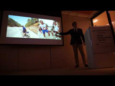 Henry Lobb addresses the Royal Geographical Society about his successful Mad Dog Challenges