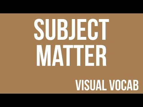 Subject Matter defined - From Goodbye-Art Academy