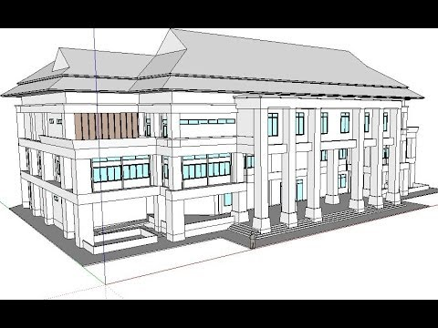 SketchUp 2013 Tutorials part 1/6: How to model 1st floor,column,walls, and stair
