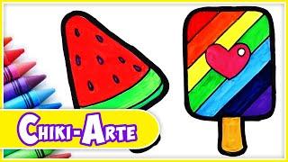 Aprende a Dibujar una Paleta de Hielo de Colores - Dibujos Infantiles | Chiki-Arte Aprende a Dibujar