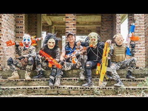 LTT Films : Silver Flash Warriors Nerf Guns Fight Crime Group BIGMAN Mask Death Squad