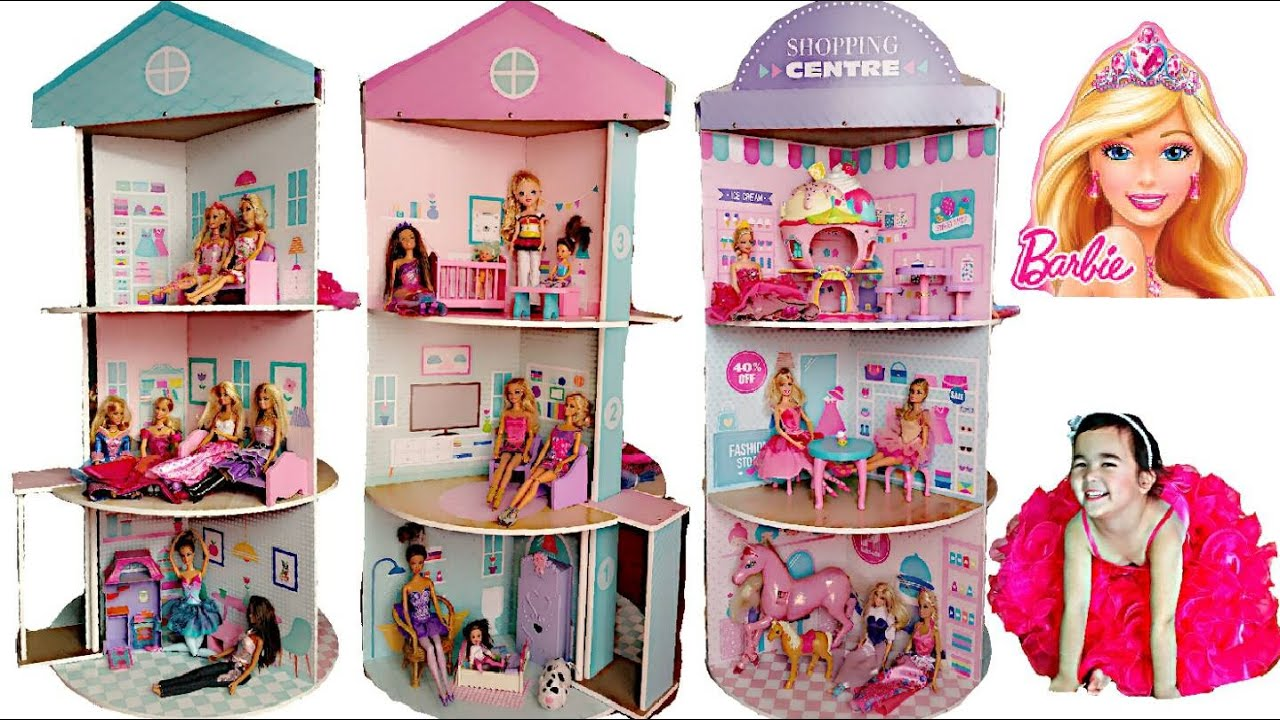 NEW BARBIE Spinning Dolls House And Shops 3 Tier Giant Box Surprise Toys Fun Kids Balloons BRILLIANT KIDS COLOURING