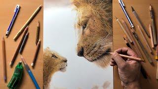 Drawing: The Lion King (Simba & Mufasa) Time-Lapse   Artology