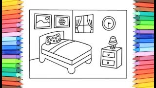 How To Draw A Bedroom for Kids 💙💜💖 Bedroom Drawing and Coloring Pages for Kids