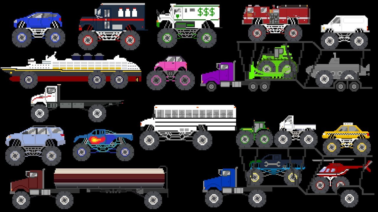 Monster Vehicles 4 - Monster Trucks \u0026 Street Vehicles - The Kids' Picture Show (Learning Video)