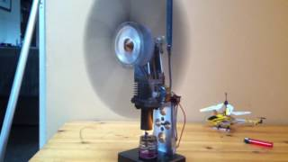 Stirling engine powering lights from a small flame