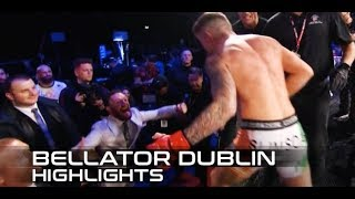 Bellator Dublin Highlights: James Gallagher dives into the crowd with Conor McGregor