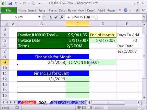 Excel Magic Trick 657: EOMONTH function For Invoices, Financials, and Quarterly Reports